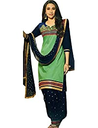 Exotic India Summer-Green And Blue Karishma Patiala Salwar Kameez Suit With Embroidered Bootis And Florals
