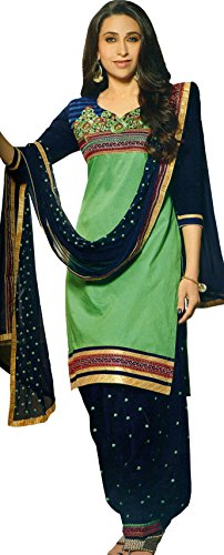 Exotic India Summer-Green and Blue Karishma Patiala Salwar Kameez Suit with Embroidered Bootis and Florals - Green Patiala Suit