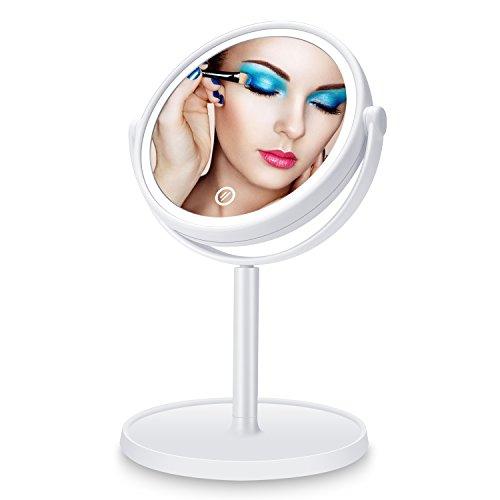 Haut Pflege Werkzeuge Led Make-up Spiegel Mit Kosmetik Lagerung Basis 180 ° Rotation Helligkeit Einstellbar Schönheit Kosmetik Spiegel Make-up Spiegel Reinweiß Und LichtdurchläSsig