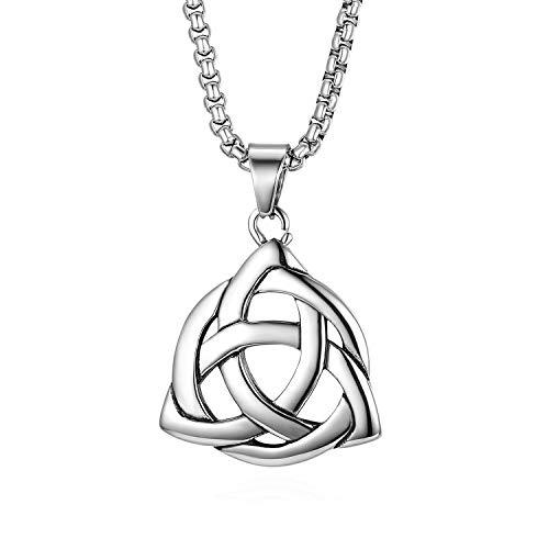 Cupimatch Triquetra Kette Herren Edelstahl Halskette für Männer Anhänger  Vintage Retro Keltisch Triangle Jungen Schmuck 56cm, Silber cb1a2edf54