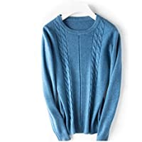 Haxibkena Cómodo suéter de algodón para Mujer Cálido Tejido Cuello Redondo Suéter de Manga Larga Mantener Delgado (Color : Blue, Size : S)