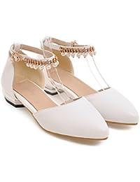 QIN&X Loisirs Femmes Plat à Tête Carrée,Chaussures Bouche Peu Profondes Le Riz Blanc,36
