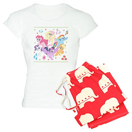 CafePress - My Little Pony Ugly Christm - Damen-Pyjama-Set aus Baumwolle, Bequeme Pyjama-Set - Rot - Small (Little Erwachsene My Pony Für Schlafanzug)