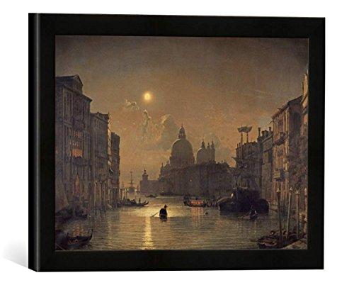 Gerahmtes Bild von Friedrich Nerly der Jüngere Canal Grande mit Santa Maria Della Salute bei Mondschein, Kunstdruck im hochwertigen handgefertigten Bilder-Rahmen, 40x30 cm, Schwarz matt
