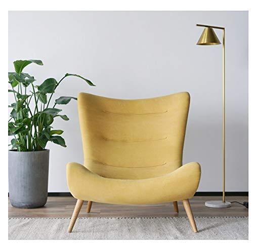 Gekrümmten Rücken Couch (WJS Einzelnes Freizeit-Sofa-festes Holz-bequemer fauler Stuhl-Wohnzimmer-Schlafzimmer-Büro-kreativer einfacher Recliner ohne Fußschemel 92 × 100cm (Color : Yellow))