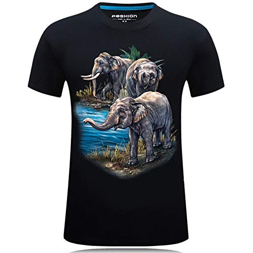 Camiseta De Manga Corta con Patrón De Elefante 3D Camiseta De Impresión 3D para Hombre Camiseta De Manga Corta con Cuello Redondo Delgado - L