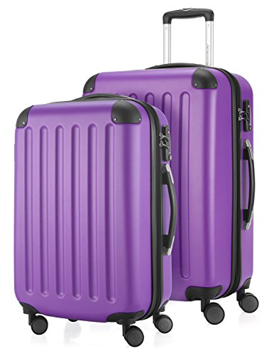 HAUPTSTADTKOFFER - Spree - 2er Koffer-Set Hartschale matt, TSA, 65 cm + 55cm, 82 Liter + 49 Liter, Schwarz Lila/Lila