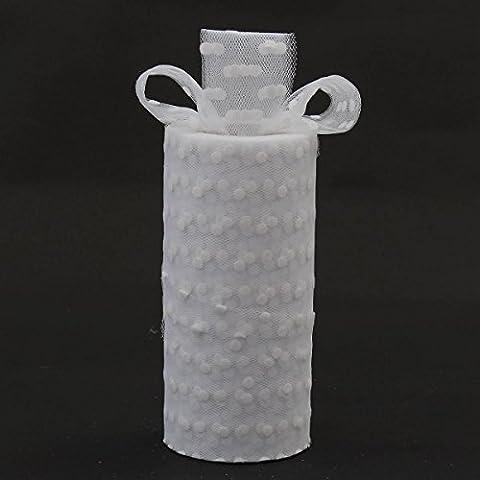 KING DO WAY 25 Yards X 6 Inch Rotolo Di Puntino Tulle Decorazione DIY Mestiere Per Festa Nuziale Tulle Roll Wedding-Bianco