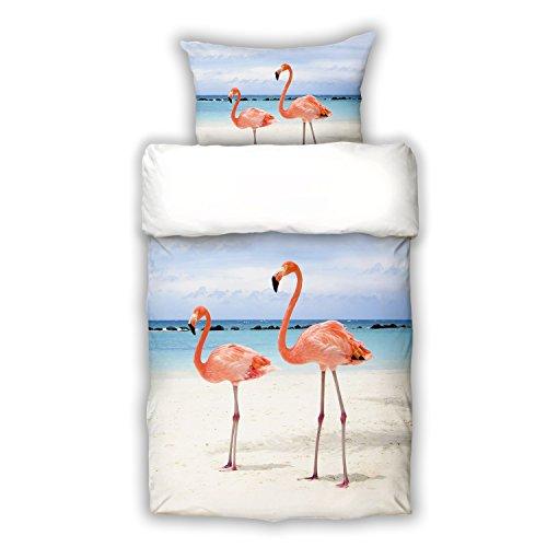 Schwanberg Bettwäsche Flamingo Rosa Vögel Strand Renforcé, Größe:135×200 cm + 80×80 cm