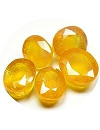 55ct naturales ovalada 28ct amarillo Sapphire Loose Gemstone Lots 5pcs