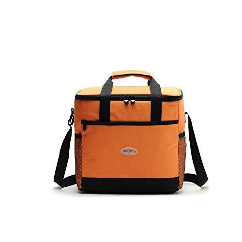 Yvonnelee Outdoor Thermotasche Kühltasche Isoliertasche Picknicktasche für Camping und Picnic Lebensmitteltransport Isoliert Faltbar 2 Wege Reißverschluss 16 Liter Klein-Orange