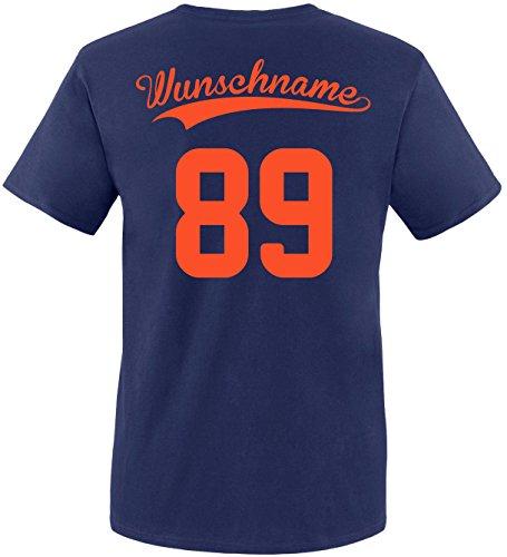 EZYshirt® Wunschnamen und Wunschnummer Brannon Pärchen V-Neck T-Shirt Herren/Navy/Neonorange