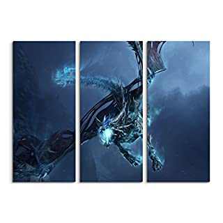 Canvas Picture PRINT ON CANVAS SET OF 3 World Of Warcraft Ice Dragon '(Total 120) Fine Art Print on Real Canvas As a Wall Picture with Stretcher Frame