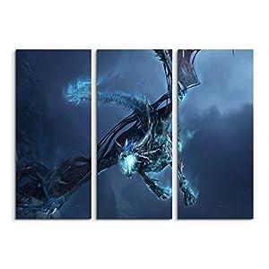 Keilrahmenbild auf Leinwand 3 teilig World of Warcraft Ice Dragon 3x90x40cm (Gesamt 120x90cm) Ausführung schöner Kunstdruck auf echter Leinwand als Wandbild auf Keilrahmen