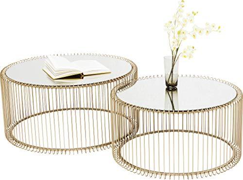 KARE Design Couchtisch Wire Gold 2er Set, runder, moderner Glastisch, großer Beistelltisch, Kaffeetisch, Nachttisch, Gold (H/B/T) 30,5xØ60cm & 33,5xØ69,5cm