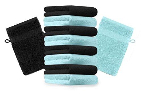 Betz lot de 10 gants de toilette taille 16x21 cm 100% coton Premium couleur turquoise, noir