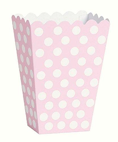 6unidades cajas fiambreras rosa lunares blanco Palomitas Snack Dulces ideales para fiestas de cumpleaños bautismo Baby Shower Party