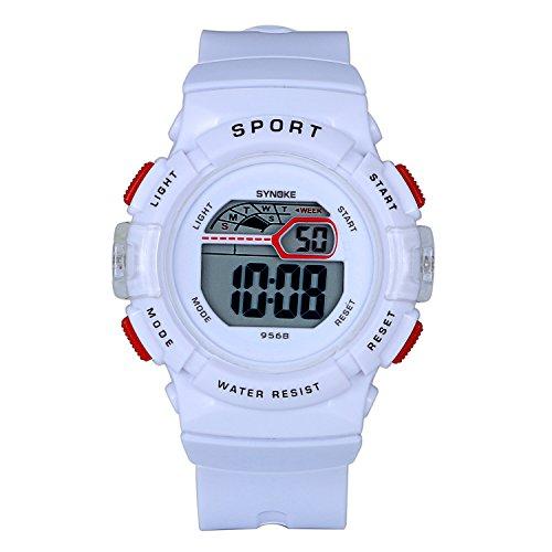 anduhr Jungen Digital Analog Kalender LED Leuchtend Sports Uhren für Jungs und Mädchen, weiss ()