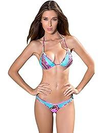 Maillot de bain femme tanga bikini brésilien uni - Brazil bleu caraïbe taille 2