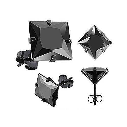 Ohrstecker Zirkonia Edelstahl Damen Herren Ohrringe Kristall schwarz transparent schwarz-quadratisch 6 mm (Herren Ohrringe Ohrstecker Kristall)