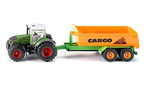 SIKU 1989, Fendt Traktor mit Hakenliftfahrgestell und Mulde, 1:50, Metall/Kunststoff, Grün, Voll funktionsfähiger Muldenanhänger