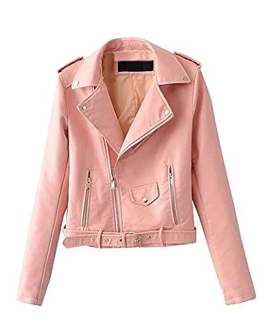 Femme Pu Cuir Courte Veste Biker Avec Ceinture Et Fermeture Éclair Slim Jacket Pink M