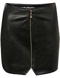 PILOT® Women's Faux Leather Zip Mini Skirt in Black