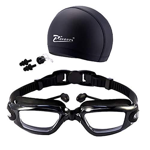MA87 Brille Nicht-Fogging Männer & UV-Schutz Badekappe Nasenklammer Schwimmbrille Frauen (Schwarz)