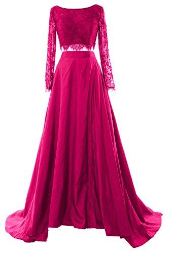 MACloth Women 2 Piece Long Sleeve Lace Maxi Prom Dress 2017 Formal Evening Gown Fuchsia