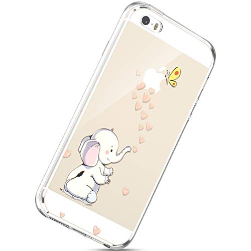 Handyhülle Kompatibel mit iPhone SE/iPhone 5S Durchsichtig Silikon Schutzhülle Kratzfeste Kristall Transparent Silikonhülle Crystal Clear TPU Bumper Case TPU Cover Weich Hülle,Elefant