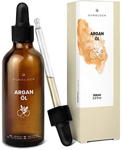 Arganöl 100% rein - vegan & in Braunglas - Feuchtigkeitspflege und Anti-Aging für Gesicht & Haut durch reines Öl aus Argan Kernen - Junglück natürliche & nachhaltige Kosmetik made in Germany - 100 ml (Spliss Argan-öl)