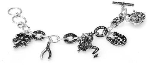 lucky-theme-wish-bone-clover-owl-horseshoe-frog-black-stone-textured-toggle-bracelet-jewelry-nexus-b
