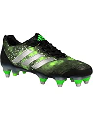adidas Adipower Kakari SG - Crampons de Rugby - Noir/Argent/Vert Solaire - Taille 50