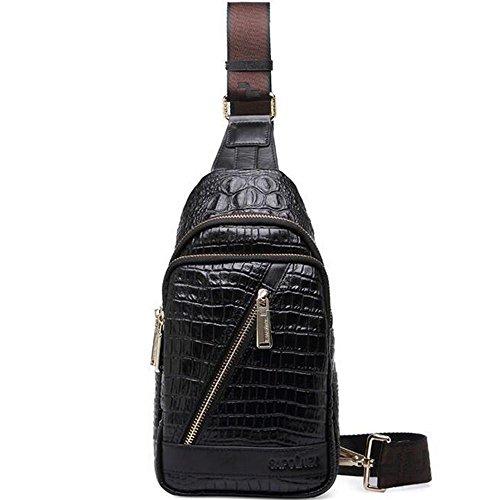 gendi da uomo in vera pelle vintage borsa a tracolla Sling petto Borsa tracolla zaino da escursionismo Satchel fresco piccolo borsa Messenger, Black