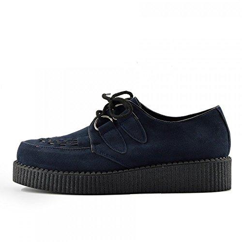 Kick Footwear Herren Flach Plateau Keil Schnüren Gothic Punk Leisetreter Creepers Schuhe Größe - UK 12/EU 46, Navy