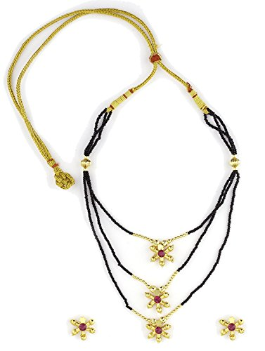 Womens Trendz Fancy Single Line Mani with Three Pendants24K Gold Plated Alloy Mangalsutra and Earring Set  available at amazon for Rs.610