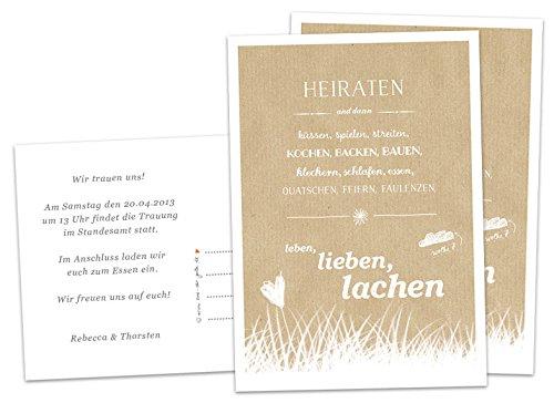 50 Hochzeitseinladungen inkl. Druckservice - Heiraten und dann... - BEIGE mit individuellem Text auf der Rückseite Hochzeitskarten Einladungskarten Recyclingpapier