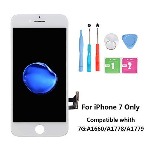 Rarlon Display Compatible Für iPhone 7G Weiß LCD Bildschirm Ersatz Für Touchscreen Glas Reparaturset Ersatz Einschließlich Kostenlose Werkzeug(7G-Weiß) (Ersatz-glas Für Iphone 3)