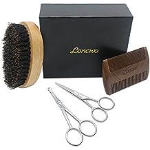 Bartpflege Set-4-Teilig, SandelholzBartkamm,100%WildschweinborstenBürste,Bartschere undNasenhaarschere-inQualitativerGeschenkbox