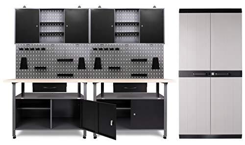 Ondis24 Werkstatteinrichtung 332x60x205 (H) cm, Arbeitshöhe 85 cm, mit MEGA XL Schrank, bestehend aus 2 x Werkbank, 2 x Werkzeugschrank, Euro-Lochwand mit 22 Haken, Metall, Justierfüße, abschließbar