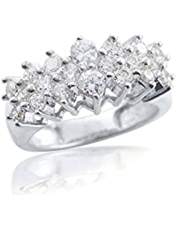 Silver Dew 925 Pure Silver CZ Diamond White Gold Plated Prong Setting Cluster Ring For Women's