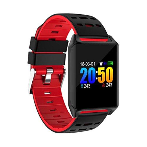 EARS Health & Fitness SmartWatch Mehrere Fitness-Modi Fitness Tracker Armband Sport Uhr mit Kompatibel mit Android Smartphone Übung Herzfrequenz Schrittzähler Uhr Intelligente Armbanduhr (Rot) (Förderung Der Systeme)