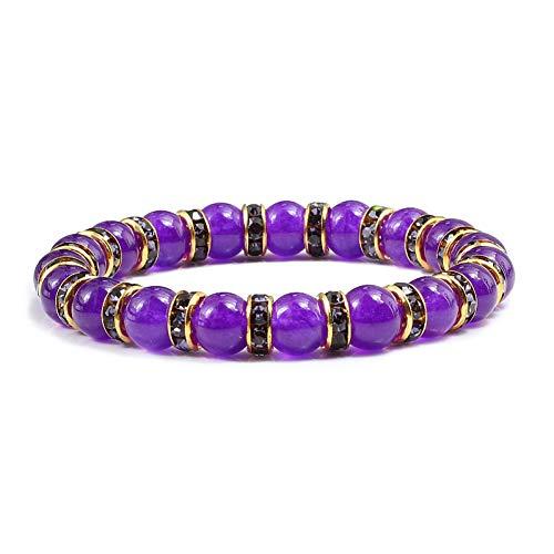 QIANJY 8 Stil Lila Chalcedon Freundschaft Armbänder Armreifen Strass Natürliche Perlenarmband Frauen Metall Yoga Schmuck Zubehör - Purple Jade Armreif