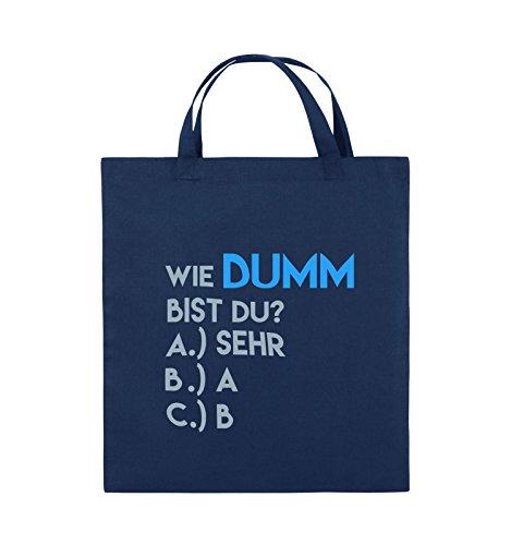 Comedy Bags - Wie dumm bist du? - Jutebeutel - kurze Henkel - 38x42cm - Farbe: Navy / Violet-Fuchsia Navy / Eisblau-Hellblau