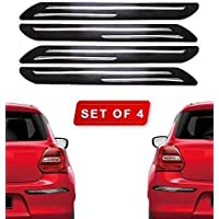 HDC Car Bumper Protector Guard with Double Chrome Strip for Car (4 Piece-Black for All Cars)