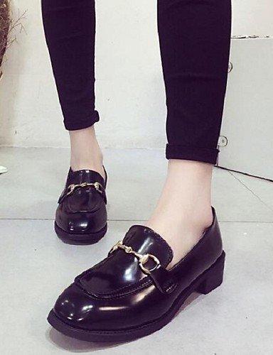 ShangYi gyht Scarpe Donna-Sneakers alla moda-Formale / Casual-Comoda / Punta squadrata-Quadrato-Finta pelle-Nero / Borgogna Black