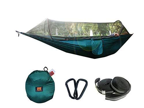 pomelogreem Amaca da 2 Persone per Escursionismo,Zanzariera per Amaca, Paracadute, Tenda da Campeggio per Esterno con Altalena a zanzara @ Verde Scuro,Camping, Viaggi, Escursione