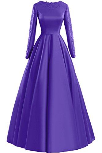 Sunvary Glamour Neu Rund Langarm Satin Applikation 2015 Mutterkleider Abendkleider Lang Partykleider Lavender