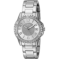 GUESS Stainless Steel Crystal Bracelet Watch with Date Function. Color: Silver-Tone (Model: U0779L1)