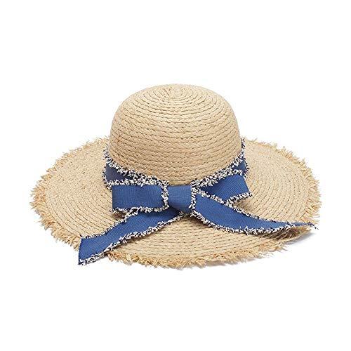 AM-women's hat Mode Hipster-Sonnenhut Lafite-Strohhut-Panamahut-Flache Fedora Dome-Strand-Hut-Bogen-Wilder Feiertag Komfort (Farbe : Light Khaki, Größe : 56-58CM)